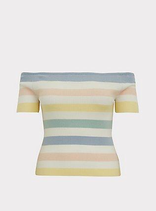 Pastel Stripe Rib Off Shoulder Midi Top, STRIPE - MULTI, flat