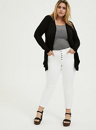 Super Soft Black Crochet Back Cardigan, DEEP BLACK, alternate