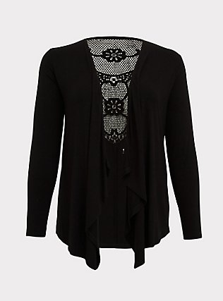 Super Soft Black Crochet Back Cardigan, DEEP BLACK, flat