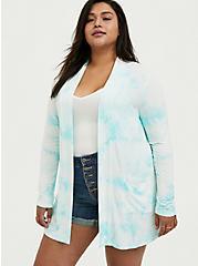 Super Soft Turquoise Tie-Dye Open Front Cardigan, TIE DYE-BLUE, alternate