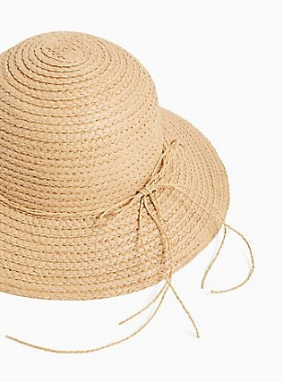 Plus Size Tan Straw Bucket Hat, BLACK, alternate
