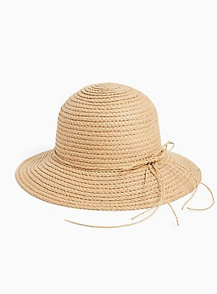 Plus Size Tan Straw Bucket Hat, BLACK, hi-res