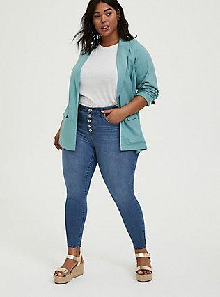 Plus Size Aqua Linen Blazer, TEAL, alternate