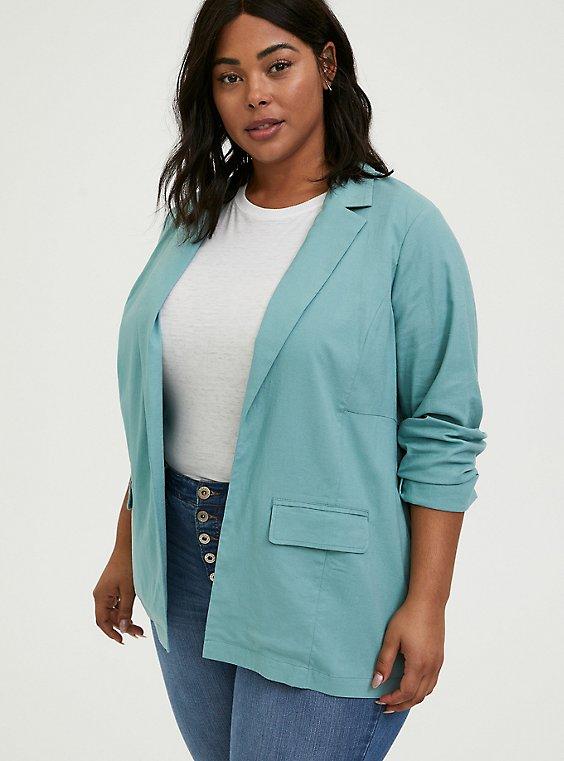 Plus Size Aqua Linen Blazer, , hi-res
