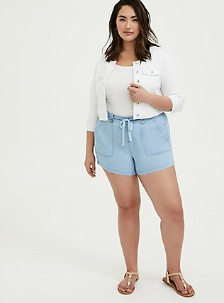 Crop Collarless Denim Jacket - White, WHITE, alternate