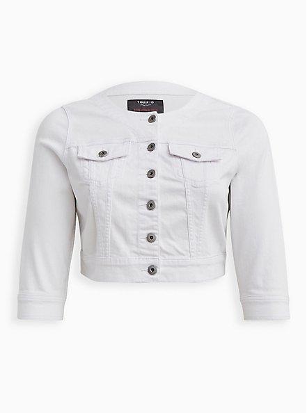Crop Collarless Denim Jacket - White, WHITE, hi-res