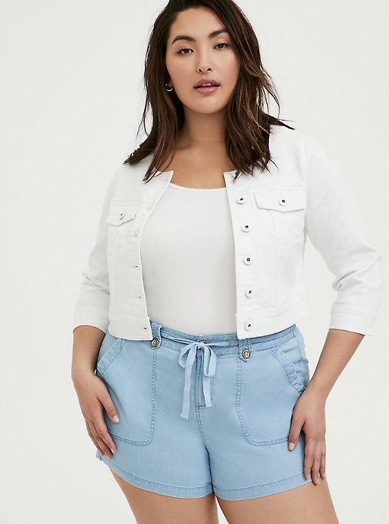 Crop Collarless Denim Jacket - White, WHITE, hi-res
