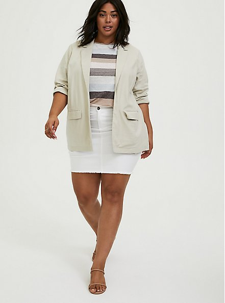 Plus Size Ivory Linen Blazer, SILVER BIRCH, alternate