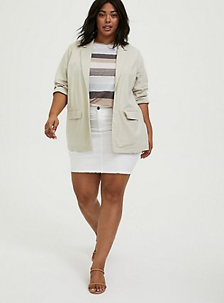 Ivory Linen Blazer, SILVER BIRCH, alternate