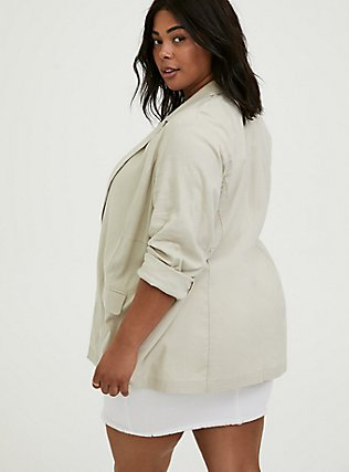 Plus Size Ivory Linen Blazer, SILVER BIRCH, alternate