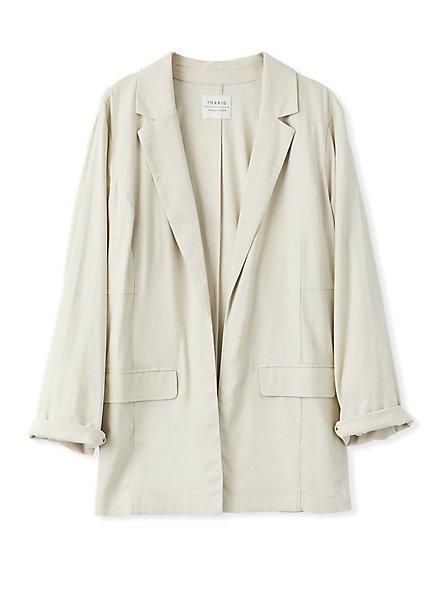 Plus Size Ivory Linen Blazer, SILVER BIRCH, hi-res