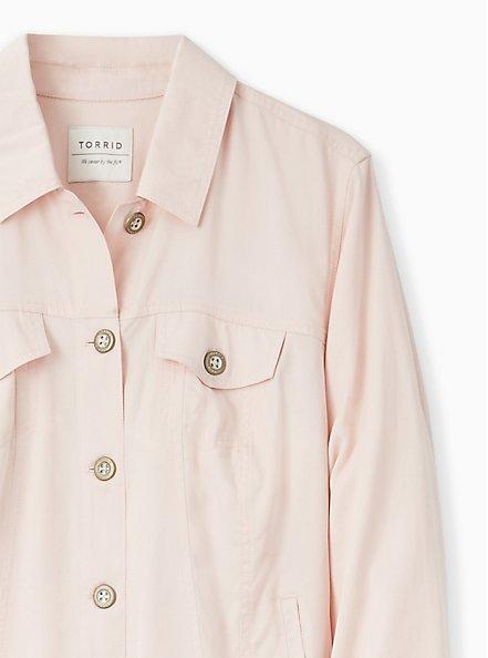 Plus Size Light Pink Trucker Jacket, PEACH BLUSH, alternate