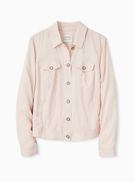 Plus Size Light Pink Trucker Jacket, PEACH BLUSH, hi-res