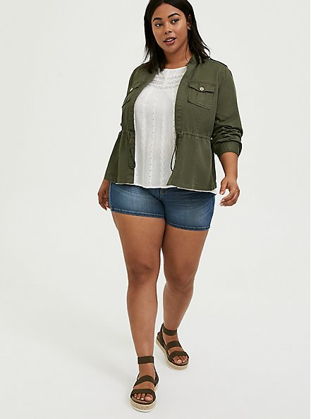 Olive Green Twill Open Front Anorak, ARMY GREEN, alternate