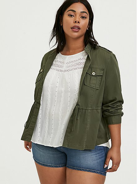 Olive Green Twill Open Front Anorak, ARMY GREEN, hi-res