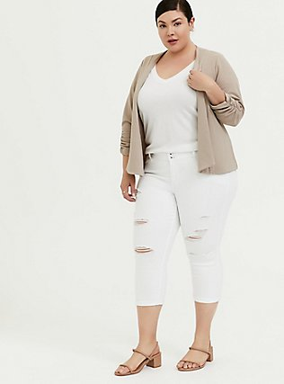 Plus Size Taupe Crepe Open Front Blazer, ATMOSPHERE, alternate