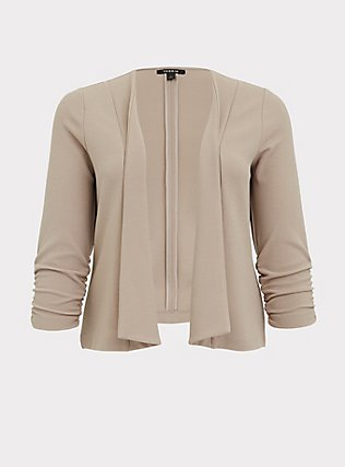 Plus Size Taupe Crepe Open Front Blazer, ATMOSPHERE, flat