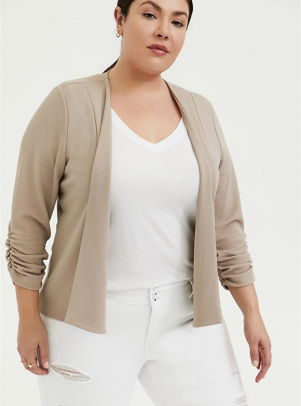 Plus Size Taupe Crepe Open Front Blazer, ATMOSPHERE, hi-res