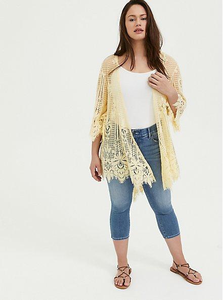 Yellow Lace Scalloped Kimono, MILLENNIAL YELLOW, alternate