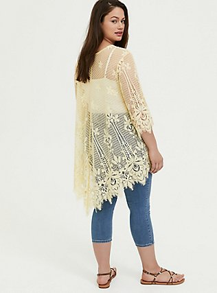 Yellow Lace Scalloped Kimono, MILLENNIAL YELLOW, alternate