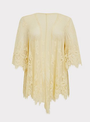 Yellow Lace Scalloped Kimono, MILLENNIAL YELLOW, flat