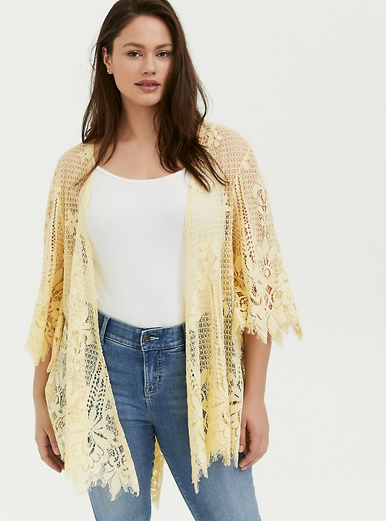 Plus Size Yellow Lace Scalloped Kimono, , hi-res