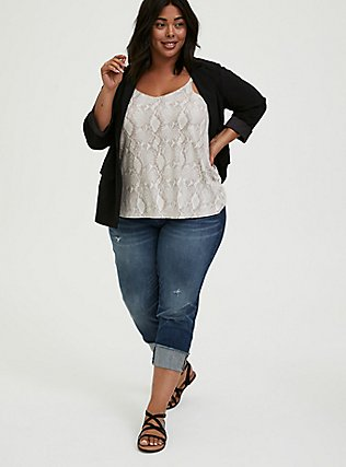 Plus Size Black Crepe Cuffed Blazer, DEEP BLACK, alternate