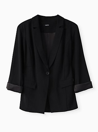 Plus Size Black Crepe Cuffed Blazer, DEEP BLACK, flat