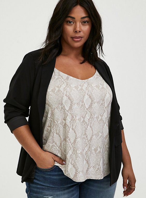 Plus Size Black Crepe Cuffed Blazer, , hi-res