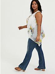 White Floral Chiffon & Lace Drape Front Vest, FLORAL, alternate