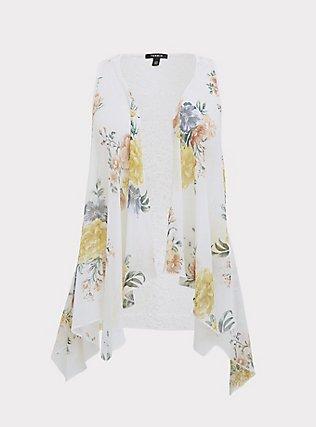 White Floral Chiffon & Lace Drape Front Vest, FLORAL, flat
