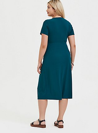 Plus Size Teal Rib Button Midi Dress, DEEP TEAL, alternate