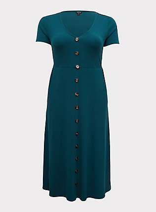 Plus Size Teal Rib Button Midi Dress, DEEP TEAL, flat