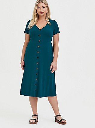 Plus Size Teal Rib Button Midi Dress, DEEP TEAL, hi-res
