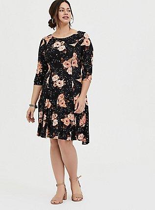 Black Floral Jersey Corset Back Mini Fluted Dress, SPRING FLING FLORAL, alternate