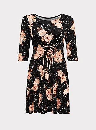 Black Floral Jersey Corset Back Mini Fluted Dress, SPRING FLING FLORAL, flat