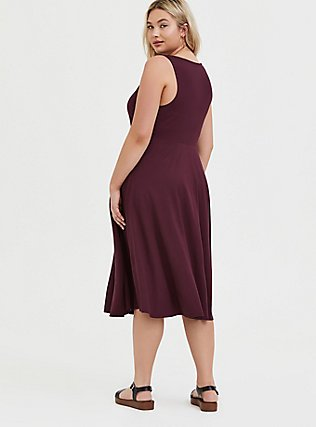 Plus Size Burgundy Purple Premium Ponte Midi Dress, WINETASTING, alternate