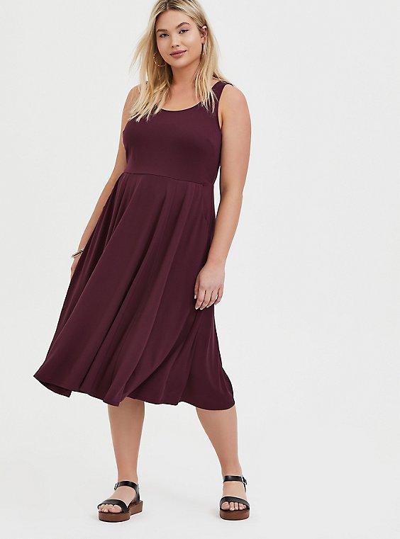 Plus Size Burgundy Purple Premium Ponte Midi Dress, , hi-res