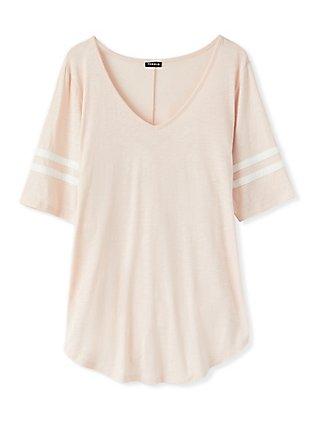 Plus Size Football Favorite Tunic Tee - Heritage Slub Light Pink, PEACH BLUSH, flat