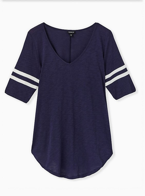 Plus Size  Football Favorite Tunic Tee - Heritage Slub Navy, PEACOAT, hi-res