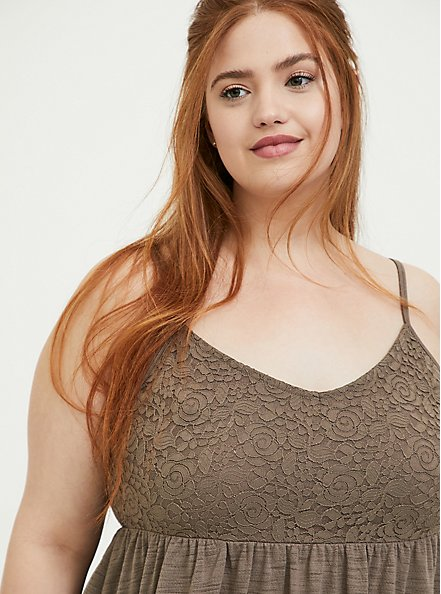 Dark Taupe Slub Jersey & Lace Babydoll Cami, FALCON, alternate