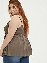 Plus Size Dark Taupe Slub Jersey & Lace Babydoll Cami, FALCON, alternate
