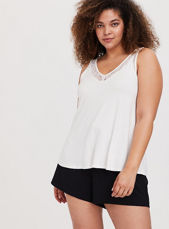 Plus Size Super Soft Ivory Lace Inset Tank, , hi-res