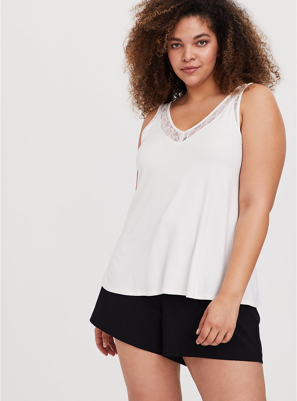Super Soft Ivory Lace Inset Tank, CLOUD DANCER, hi-res
