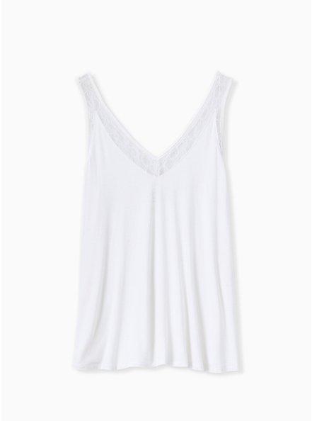 Super Soft Ivory Lace Inset Tank, CLOUD DANCER, hi-res