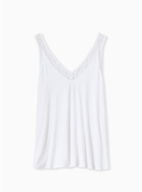 Plus Size Super Soft Ivory Lace Inset Tank, CLOUD DANCER, ls