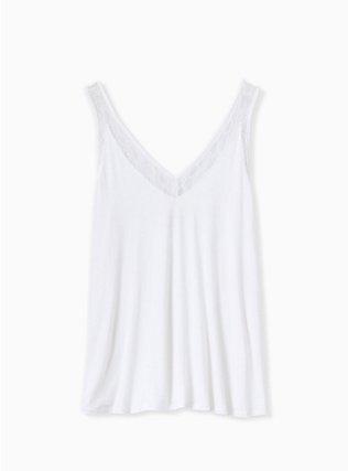 Super Soft Ivory Lace Inset Tank, CLOUD DANCER, ls