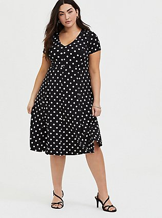 Plus Size Black Polka Dot Studio Knit Midi Skater Dress, DOT -BLACK, alternate