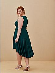 Special Occasion Green Scuba Knit & Satin Hi-Lo Gown , BOTANICAL GARDEN, alternate
