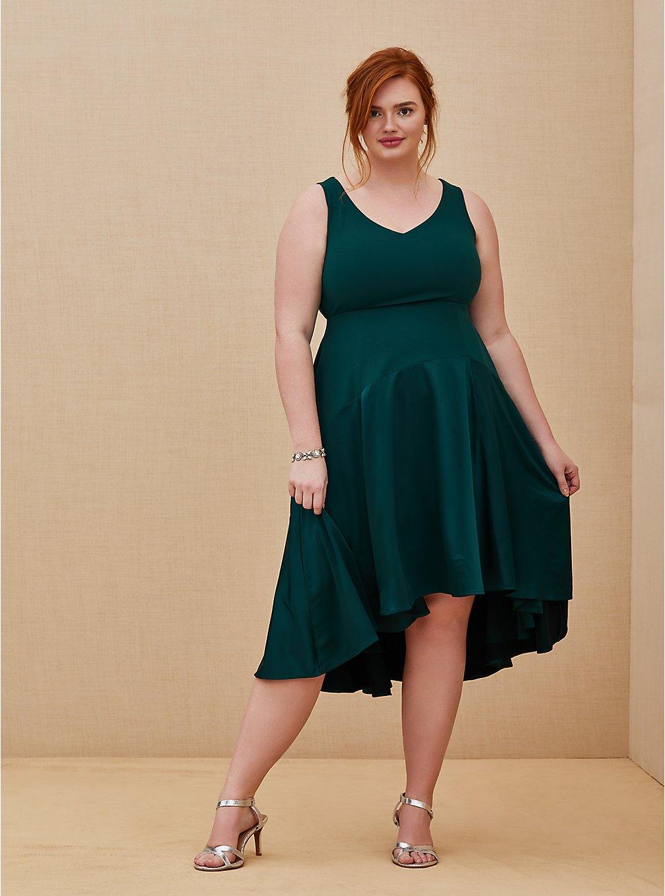 Special Occasion Green Scuba Knit & Satin Hi-Lo Gown , BOTANICAL GARDEN, hi-res